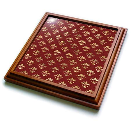 3dRose Anne Marie Baugh - Patterns - Pretty Red and Image Of Gold Ornamental Pattern - 8x8 Trivet with 6x6 ceramic tile (trv_317638_1)