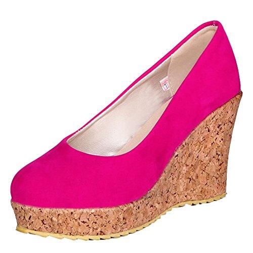 Plateau Da Elegante Rossa E Rosa Tacco Mee Con Donna Alto Scarpa Shoes qwHOUS