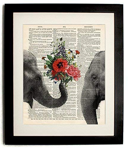 FRAMED elephant with bouquet Upcycled Vintage Dictionary Art Print Matted 10