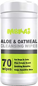 MOKAI Aloe & Oatmeal Grooming Wipes For Dogs and Cats | Pet Cleansing Wipes Used to Remove Dirt Dander Odor and Excess Hair from the Skin and Coat with Soothing Benefits for Sensitive Skin (70 Wipes)