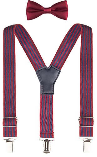 Lilax Boys Solid Color Adjustable Elastic Basic Suspender & Bow Tie Set for Kids and Baby Navy-Burg Stripe
