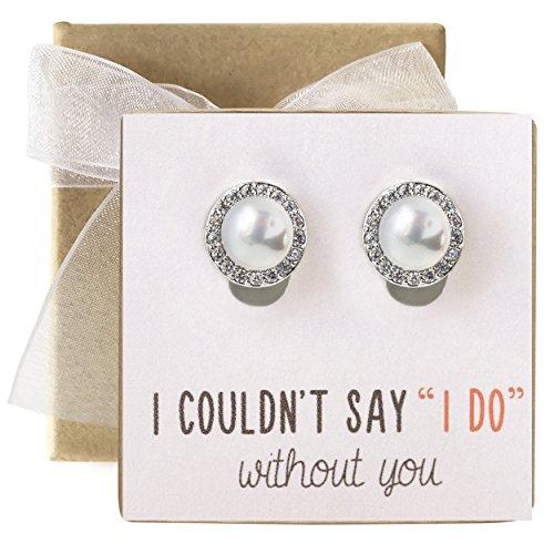 Bridesmaid Gift Pearl Crystal Stud Earrings in Post or Clip Earrings
