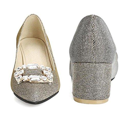 Bocca argento Tacchi Appuntita Testa Medio di Alti Panno Paillettes Profonda Spesso Tacco Diamante Poco Tacco con Brillante Scarpe n4S8q