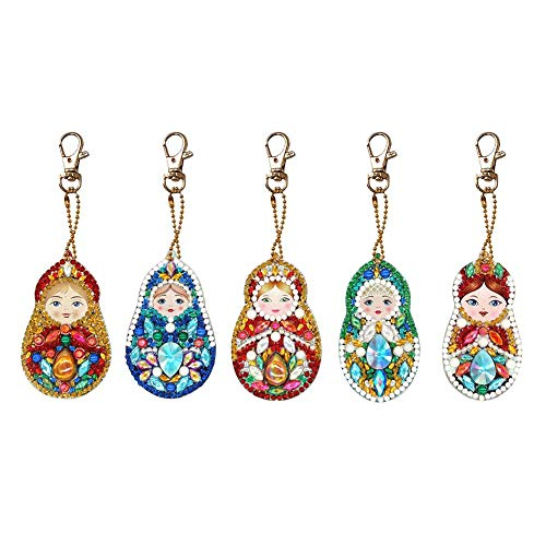 DIY Diamond Painting Keychain Kits, Initial Doll Full Drill Special Shaped, Art Crafts for Kids Adults Teens Beginners Elderly (5pcs) -