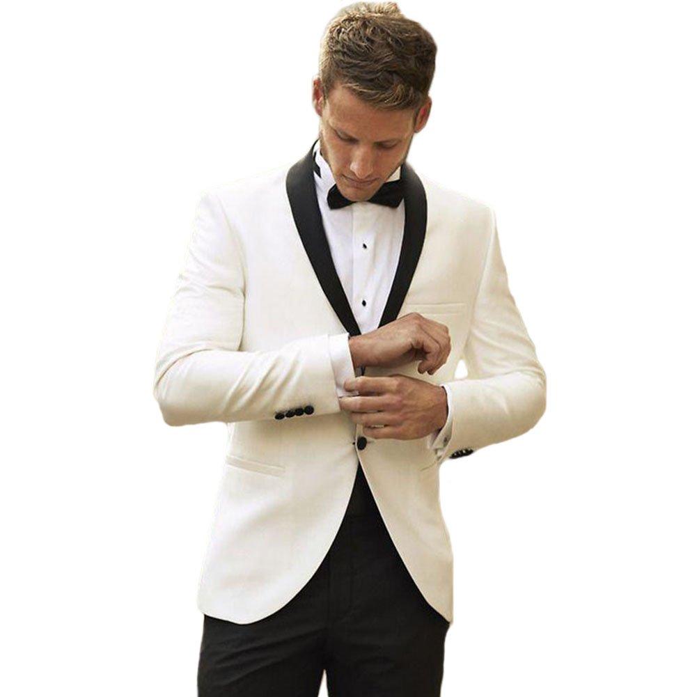 Rey & Aires Men's Ivory Two Piece Suit Blazer Black Lapel One Button Wedding Prom Dress Suit