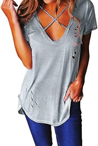 ZANZEA Women's Crisscross Lace up Front V Neck Short Sleeve T Shirt Tops Blouse
