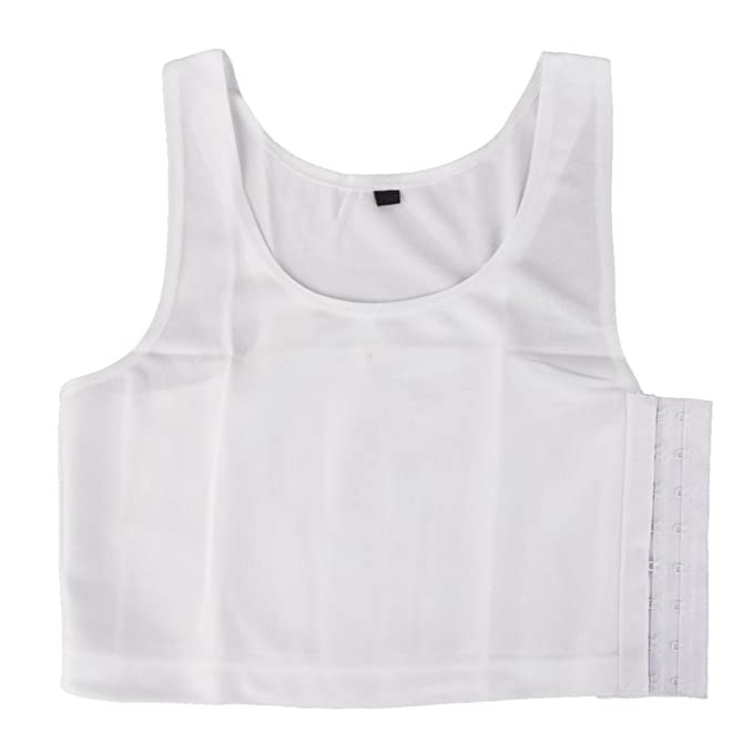 47179eb25f544 Women s Tomboy Breathable Buckle Short Chest Breast Binder Tank Top Vest  (White