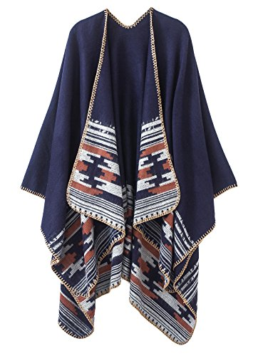 Urban CoCo Women's Color Block Shawl Wrap Open Front Poncho Cape (Series 6-Navy) by Urban CoCo