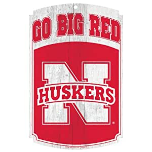 "NCAA Nebraska Cornhuskers ""Go Big Red"" Wood Sign, 11 x 17-Inch"