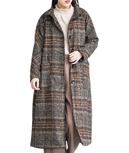 (YESNO EG2 Women Long Maxi Wool Blend Plaid Coat Lightweight Quilted Turn-Down Collar Single Breasted Long Sleeve/Pockets)