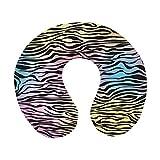 C COABALLA Zebra Print U Shape Travel Pillow,Colorful Zebra Pattern Wild Animal Wilderness
