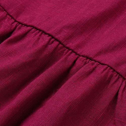 DEELIN De Cuello En del Falda Nuevas Ocasionales Corta Larga Mujeres BotóN SóLido del Rojo con Manga Vestido V Partido Vestido Color Mini De del Las rZx4nHWr
