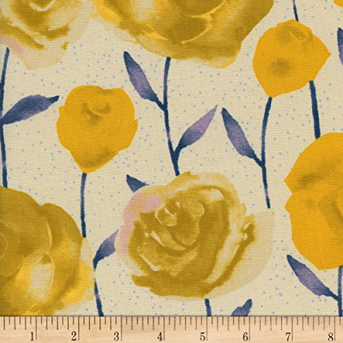 Cotton + Steel Firelight Roses Yellow Fabric by The - Cotton Rose Fabric