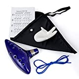Legend of Zelda Ocarina, WoneNice 12 Hole Alto C Ocarina with Textbook Display Stand Protective Bag