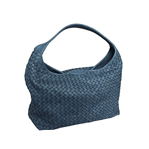 Woven Shoulder Bucket Hand Italian Hobo Bag Masi Leather Blue Handbag Paolo Washed EHRFqx