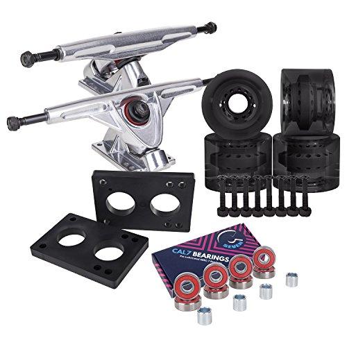 Cal 7 Longboard Skateboard Combo Package with 70mm Wheels & 180mm Lightweight Aluminum Trucks, Bearings Complete Set & Steel Hardware (Silver Truck + Transparent Black Wheels)