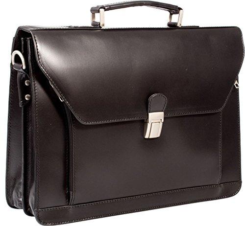Executive Veg Hellbraun Echtes Leder Notebook Aktentasche Tasche, (schwarz)