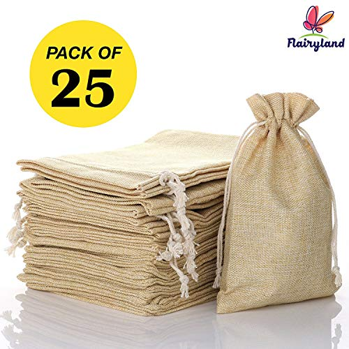 "FLAIRYLAND 5"" x 8"" Burlap Bags with Jute Drawstring for Arts Crafts Projects Birthday Christmas Wedding Present Snacks Jewelry Treat DIY 