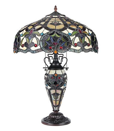 Chloe Lighting CH33473IV18-DT3 Sadie Tiffany-Style Victorian 3-Light Double Lit Table Lamp with 18-Inch Shade