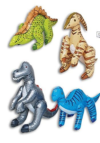 Jumbo Colorful Inflatable Dinosaurs ~ Set of 4 by Dinosaur Assortment