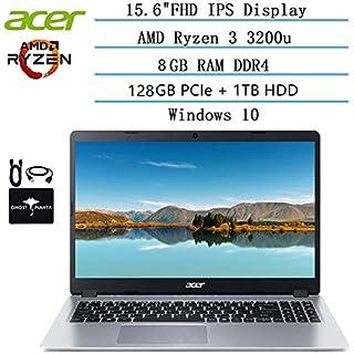 2020 Newest Acer Aspire 5 Slim Laptop 15.6 FHD IPS Display, AMD Ryzen 3 3200u-Dual Core (up to 3.5GHz), Vega 3 Graphics, 8GB RAM, 128GB PCIe SSD + 1TB HDD, Win10 w/Ghost Manta Accessories