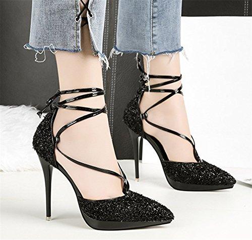 38 Heels High Dentelle Discothèque Mode Singles Paillettes black Talon 34 Chaussures Sexy Bow NVXIE Tip Chaussures Femmes wztZEqppnx