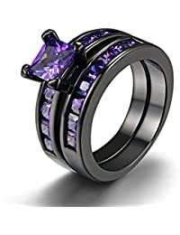 Womens Vintage 18K Black Gold Plated Created Solitaire Amethyst Wedding Engagement Ring Set Anniversary Promise Band