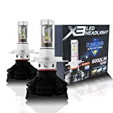 Alla Lighting 2017 Newest 6000lm DIY 3 Colors White Gold Ice Blue X3 Version Xtremely Super Bright High Power ZES Chips Mini H4 9003 HB2 LED Headlight Conversion Kits -2 Year Warranty