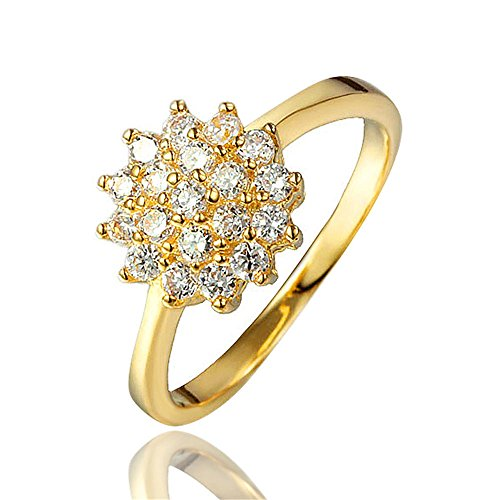 BLOOMCHARM Shining Flower 18K Gold Plated Cubic Zirconia Engagement Wedding Eternity Ring, Birthday Gifts for Women Friends Girls (6) by BLOOMCHARM