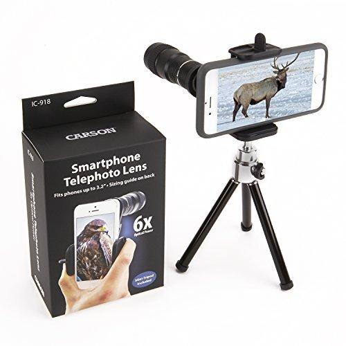 Carson HookUpz Universal Digiscoping Smartphone Adapter with 6x18mm Telephoto Lens Monocular and Mini Adjustable Tripod (IC-918) [並行輸入品] B01N1YA8Q6