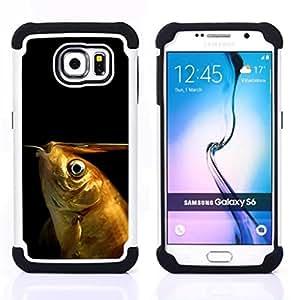 GIFT CHOICE / Defensor Cubierta de protección completa Flexible TPU Silicona + Duro PC Estuche protector Cáscara Funda Caso / Combo Case for Samsung Galaxy S6 SM-G920 // Funny Goldfish //