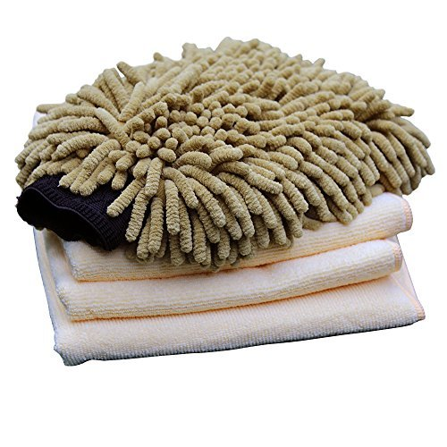 VANDEK Premium Chenille Car Wash Mitt with 3 Microfiber Towels Interior Exterior Car Cleaning