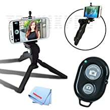 """Adjustable Tabletop Camera/Smartphone Tripod/Steady-Shot Hand Grip, 6.5"""" inches + Universal Tripod Smartphone Mount + Bluetooth Wireless Remote Control Camera Shutter for Apple iPhone 6, iPhone 6 Plus, iPhone 5c, iPhone 5s, iPhone 5, iPhone 4s, iPhone 4,Motorola Nexus 6, Motorola Droid Turbo, Motorola Moto G, Motorola Moto X (2nd Generation), Motorola Moto X Pro, Motorola Moto G, Motorola Moto X, LG G3, LG G FLEX 2, LG G FLEX, LG G2, LG NEXUS 5 and Other Smartphones + Tronix Microfiber Cloth"""