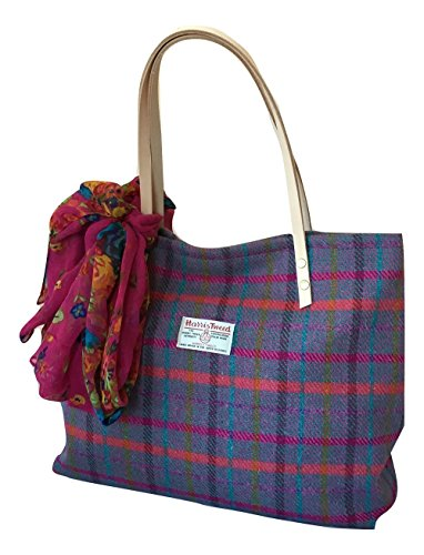 Il Grande borsa da sera in Tweed Harris, motivo: plaid a quadri, colore: viola erica