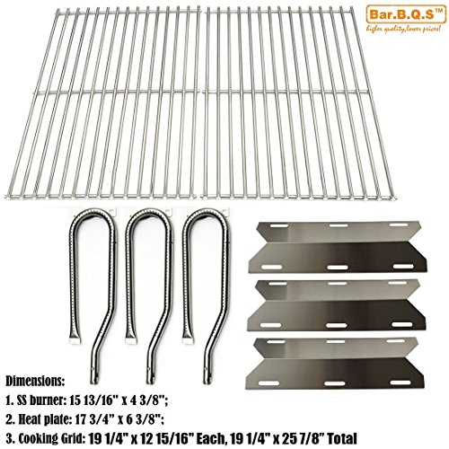 bbq factory® Replacement Jenn Air Gas Grill 720-0336 Grill Stainless Steel Burners,Stainless Steel Heat Plates&Stainless Steel Cooking Grid
