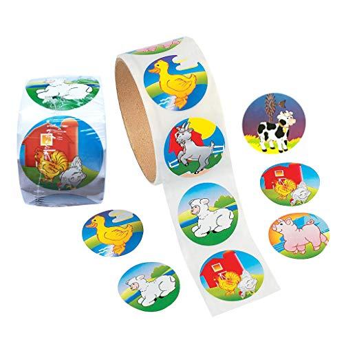 MagiDeal 1 5 inch Multicolored Farm Animal Stickers Roll, 2Pcs Kids' Reward  Stickers Rolls (100 Stickers per Roll)