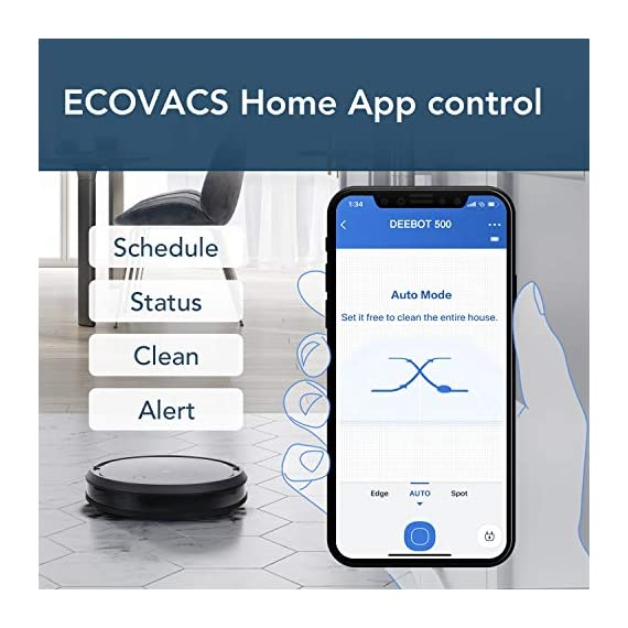 ECOVACS Deebot 500 Robots Vacuum Cleaner with Robotic Smart APP Control, Max Mode Suction Power, 3-Stage Cleaning System Compatible with Alexa (Black) 4