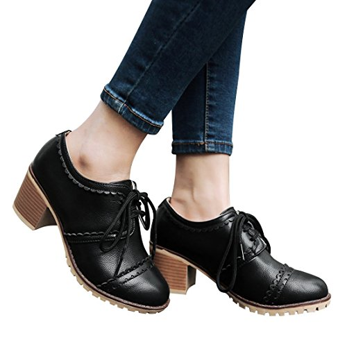 Susanny Classic Retro Pu Oxfords Brogue Shoes Women's Mid-heel Wingtip Lace Up Dress Black Shoes 8.5 B (M) US