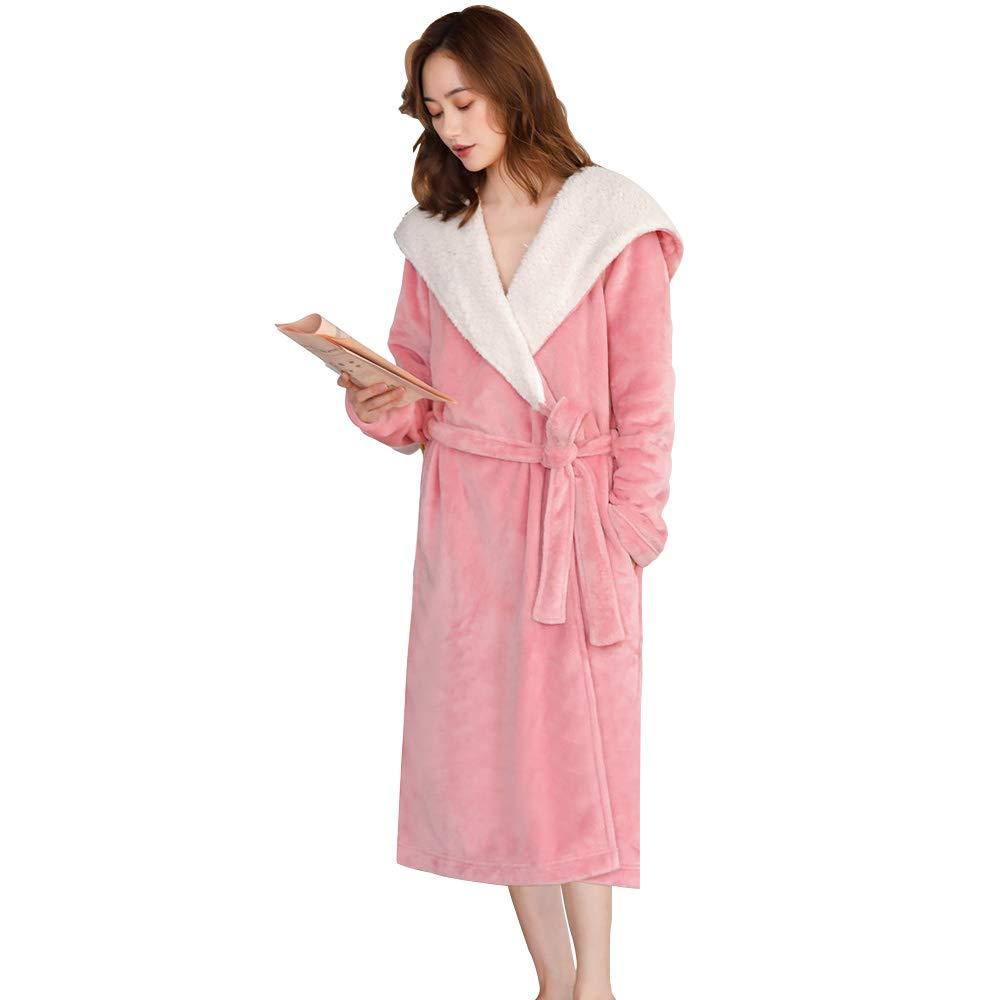 V1 Clothing CO Bata de Pijamas, Camisón con Capucha y Pijama Largo y Terciopelo, Modelos de otoño e Invierno de Franela Gruesa Ropa de hogar cálido: ...