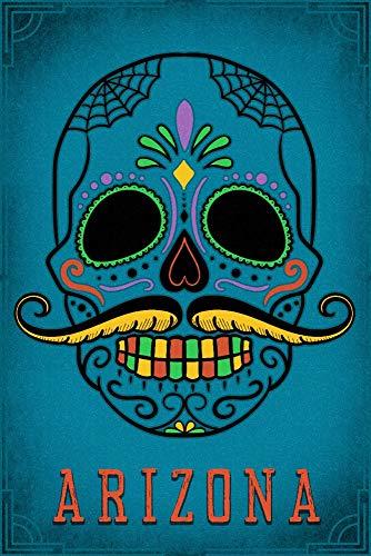 Arizona - Sugar Skull with Mustache - Teal (9x12 Fine Art Print, Home Wall Decor Artwork Poster)