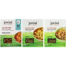 Jovial Organic Gluten-Free Brown Rice Italian Pasta 3 Shape Variety Bundle: (1) Jovial Penne Rigate Pasta, (1) Jovial Fusilli Paste, and (1) Jovial Caserecce Pasta, 12 Oz. Ea.