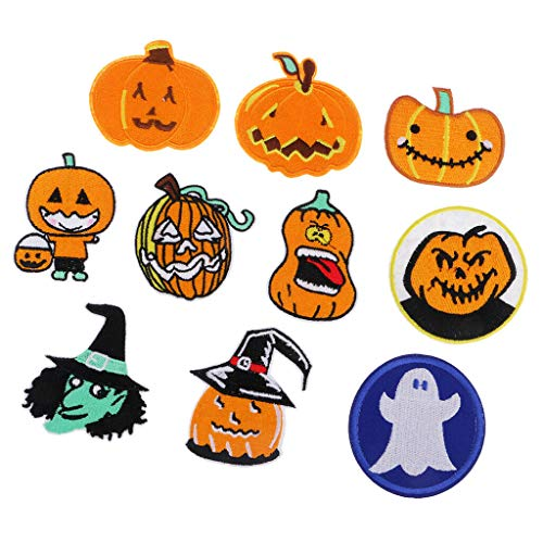 10pcs Embroidered Halloween Applique Iron On Patches for Clothing Hats Bags -