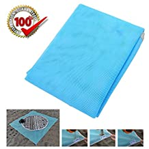 Sand Free Beach Blanket, Sandless Outdoor Picnic Camping Mat, Fast Dry, Easy to Clean Perfect for Beach, Picnic, Camping, Outdoor Events (200 X 200 CM, Blue)