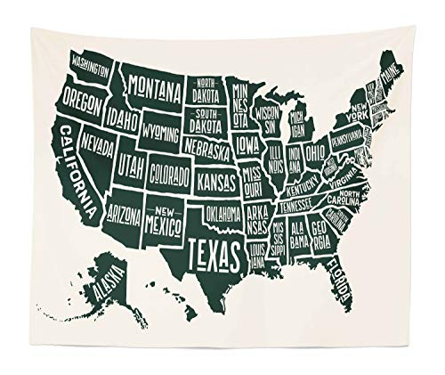Lunarable USA Tapestry King Size, Black and White Style United States of America Map with Written State Names, Wall Hanging Bedspread Bed Cover Wall Decor, 104
