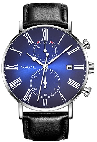 Dual Dial Watch (VAVC Men's Fashion Minimalist Casual Dress Black Leather Band Waterproof Quartz Analog Wrist Watch with Blue Dial)