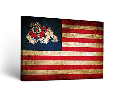 Victory Tailgate Fresno State Bulldogs Canvas Wall Art Vintage Flag Design (18x24)