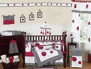 Red and White Polka Dot Ladybug Baby Girl Bedding 9pc Crib Set from Sweet Jojo Designs