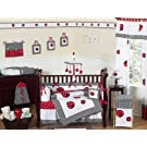 Red and White Polka Dot Ladybug Baby Girl Bedding 9pc Crib Set