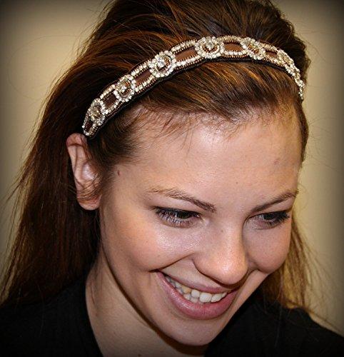 SOFIA - BR -Regalia Beaded Rhinestone Stretch No Slip Headband (Hair Jewelry)