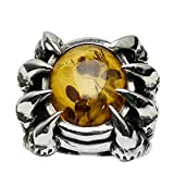 Beydodo Mens Silver Ring, Claw Yellow Amber Ring Size 9 Mens Rings Hip Hop
